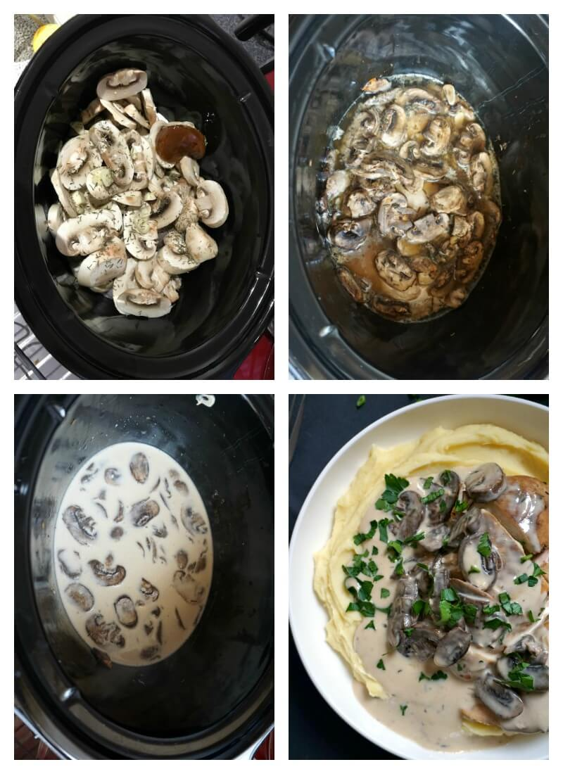 Collage of 4 photos to show how to make slow cooker mushroom chicken