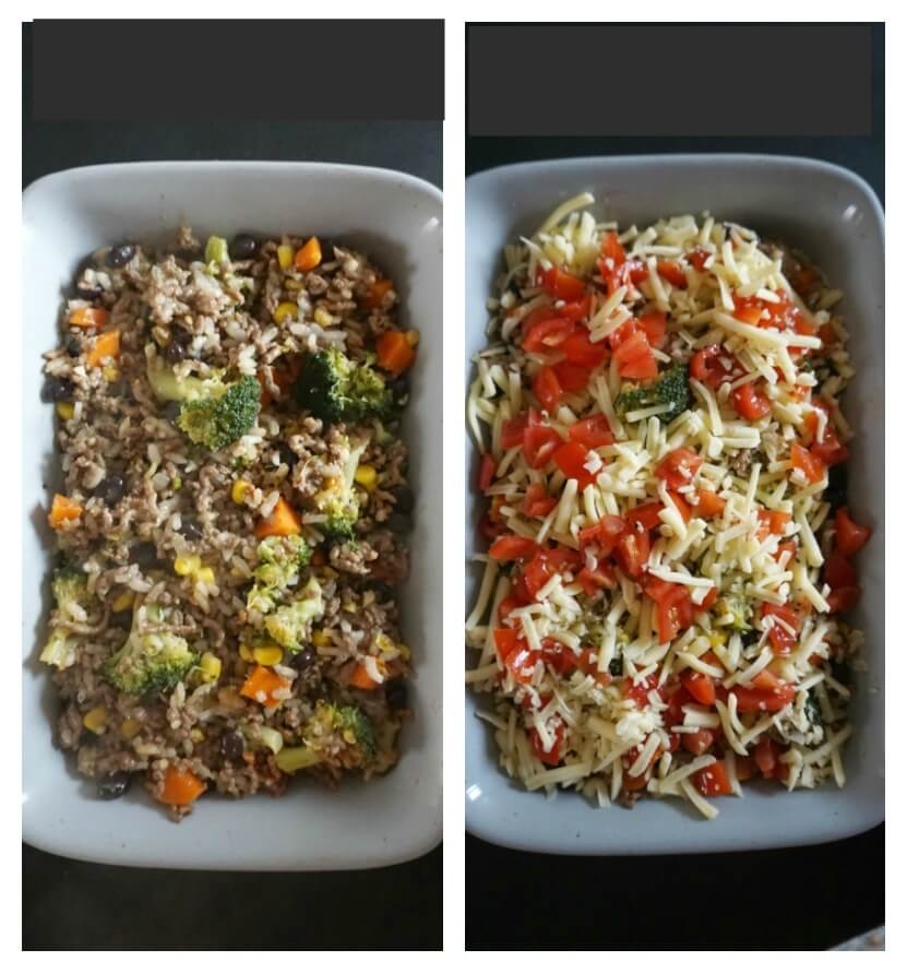 Collage of 2 photos to show how to make cheesy ground beef and rice casserole