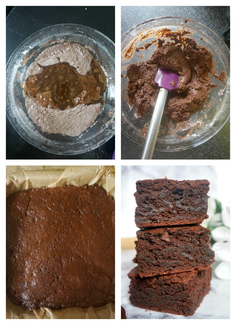 Collag eof 4 photos to show how to make vegan brownies
