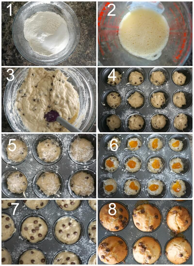 Collage of 8 photos to show how to make choc chip muffins with jam filling