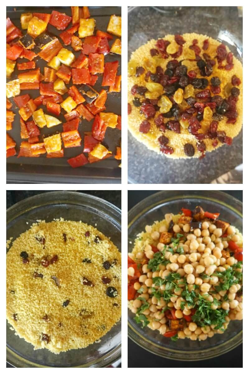Collage of 4 photos to show how to make moroccan couscous salad