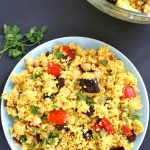 Moroccan Couscous Salad with Chickpeas and roasted vegetables, a deliciously spiced dish full of colour and flavour.