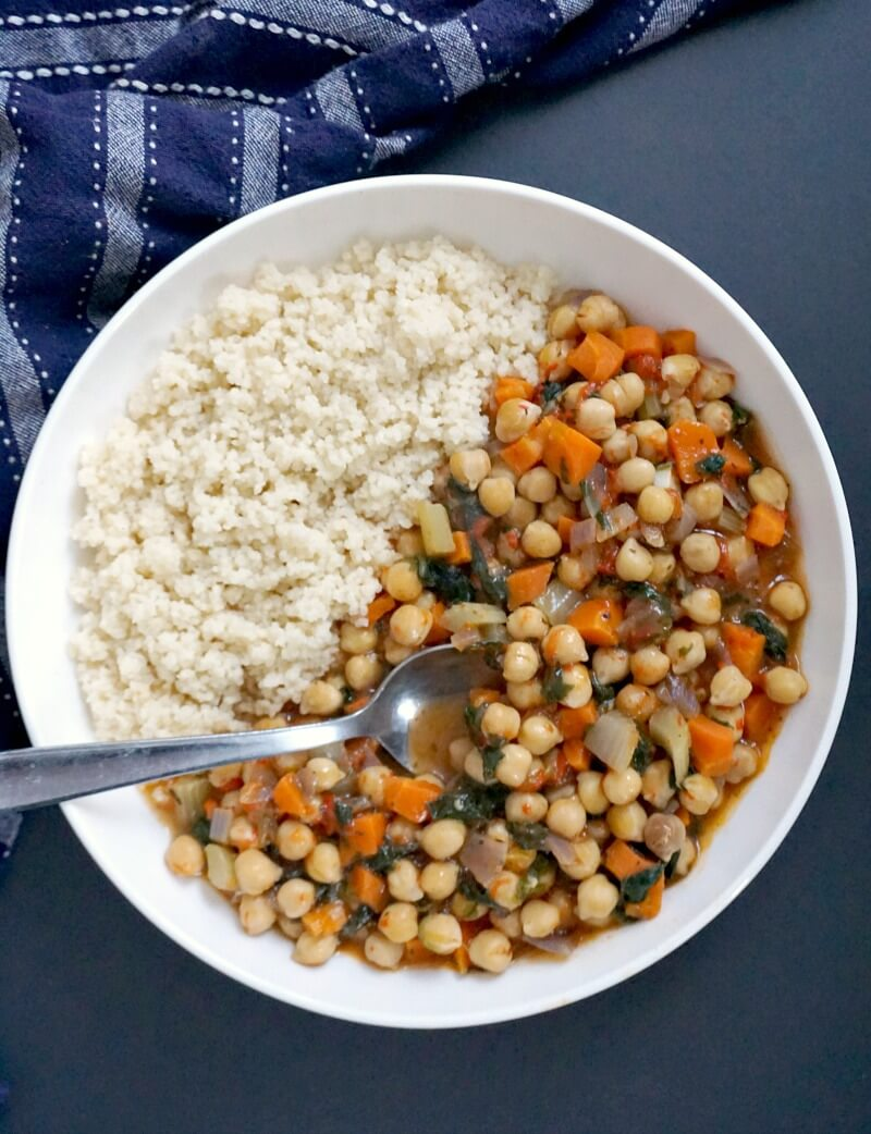 Overhead shoot of a white plate with chickpea stew