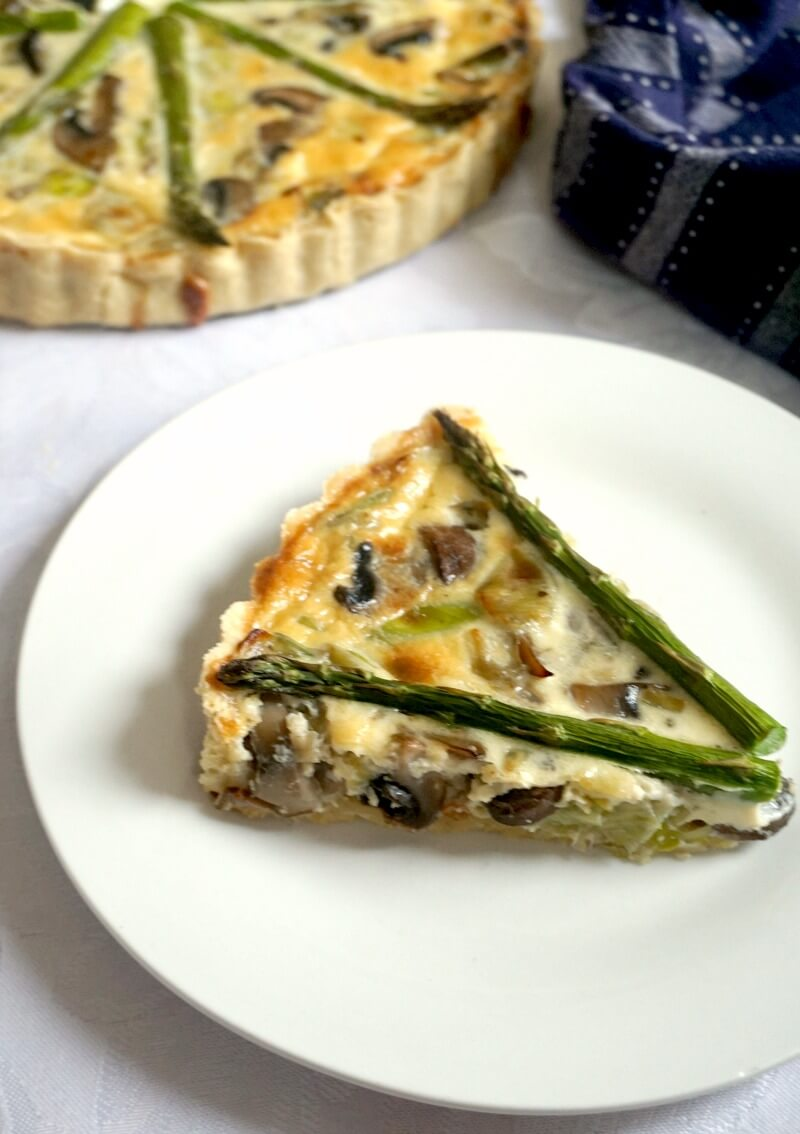 A white plate with a slice of quiche