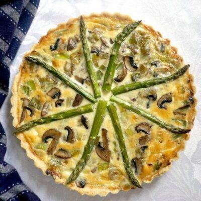 Asparagus, Mushroom and Leek Quiche