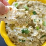 Easy Baba Ganoush Recipe, a cold appetizer for any party. It's super delicious, and, as a bonus point, it's vegan, gluten free and low carb too, which means everybody gets to enjoy it. It's the most delicious eggplant/aubergine salad or dip that goes is not only so tasty, but healthy too. It can be served at any party, game day or picnic, not only in summer, but all year round. The tahini gives it a spectacular taste. #babaganoush, #eggplantdip, #healthydips, #gamedayfood, #summerrecipes