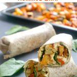 Harissa Roasted Vegetable and Hummus Wrap, a super healthy vegan wrap made with roasted sweet potato, zucchini and red pepper with harissa paste, fresh baby spinach and wholemeal tortilla wrap. Great as a packed lunch, or a quick and light dinner.