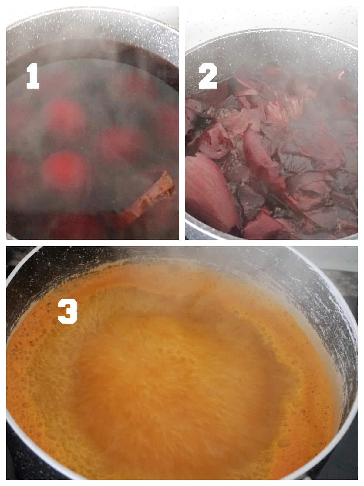 Collage of 3 photos to show how to dye eggs naturally