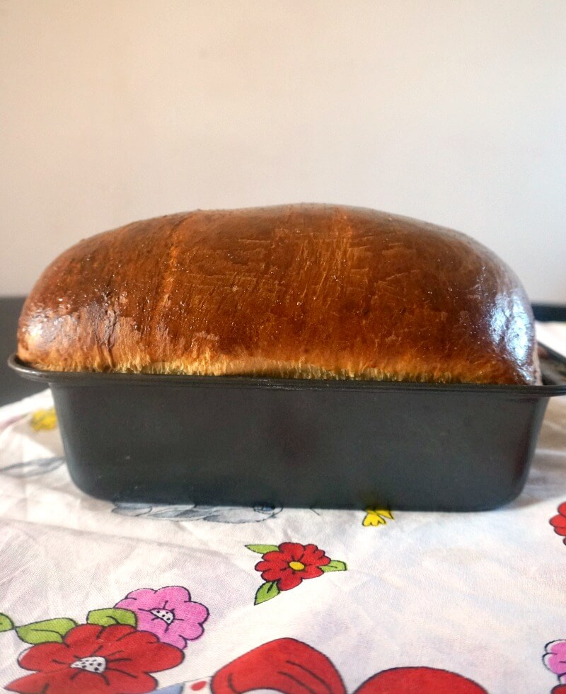 A bread tray with Romanian Sweet Bread