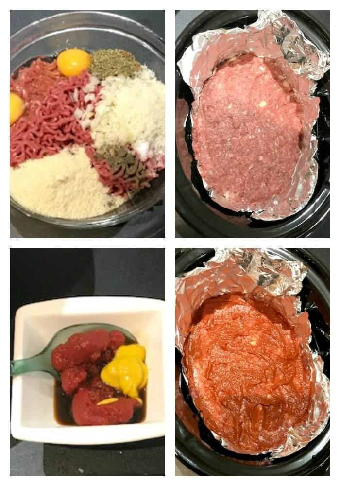 Collage of 4 photos to show how to make meatloaf in the crock pot