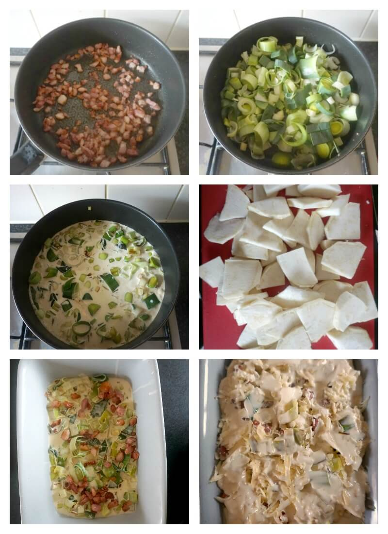 Collage of 6 photos to show step-by-step instructions on how to make a celeriac gratin with leeks and bacon