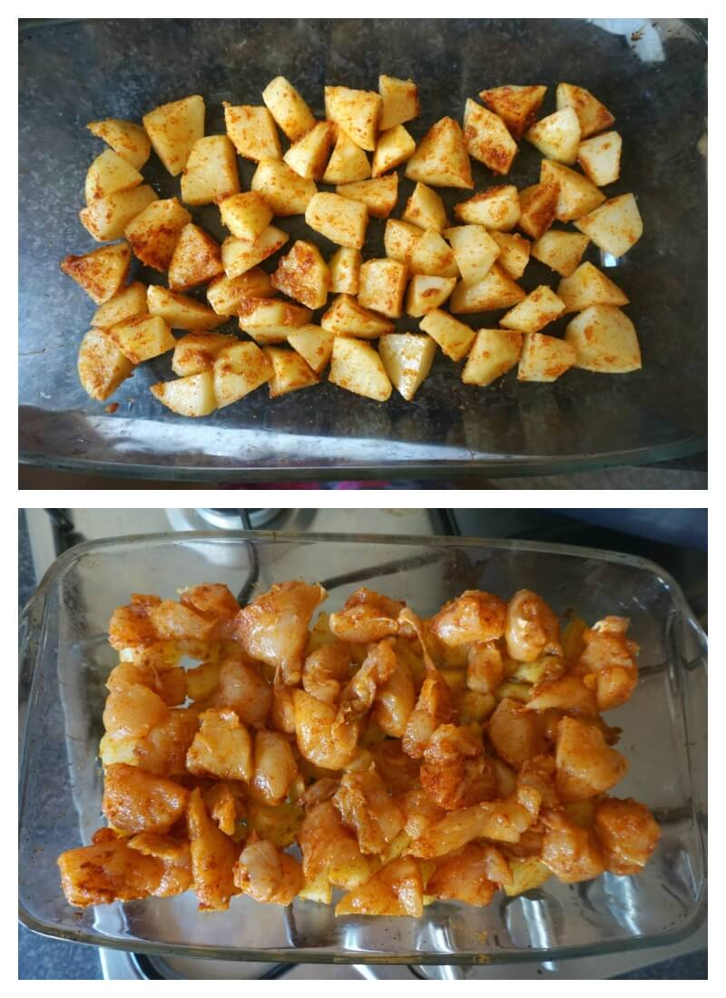 Collage of 2 photos to show how to make chicken potato bake