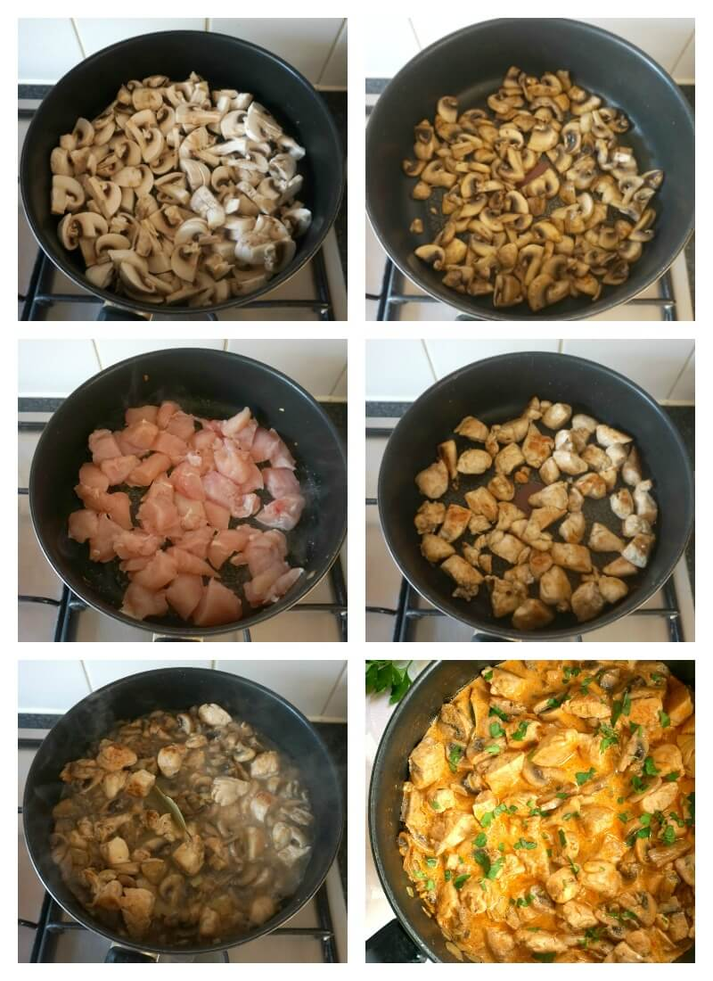Collage of 6 photos to show how to make chicken and mushroom stroganoff