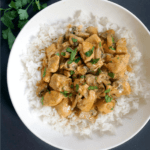 Overhead shoot of a white plate with rice topped with chicken stroganoff