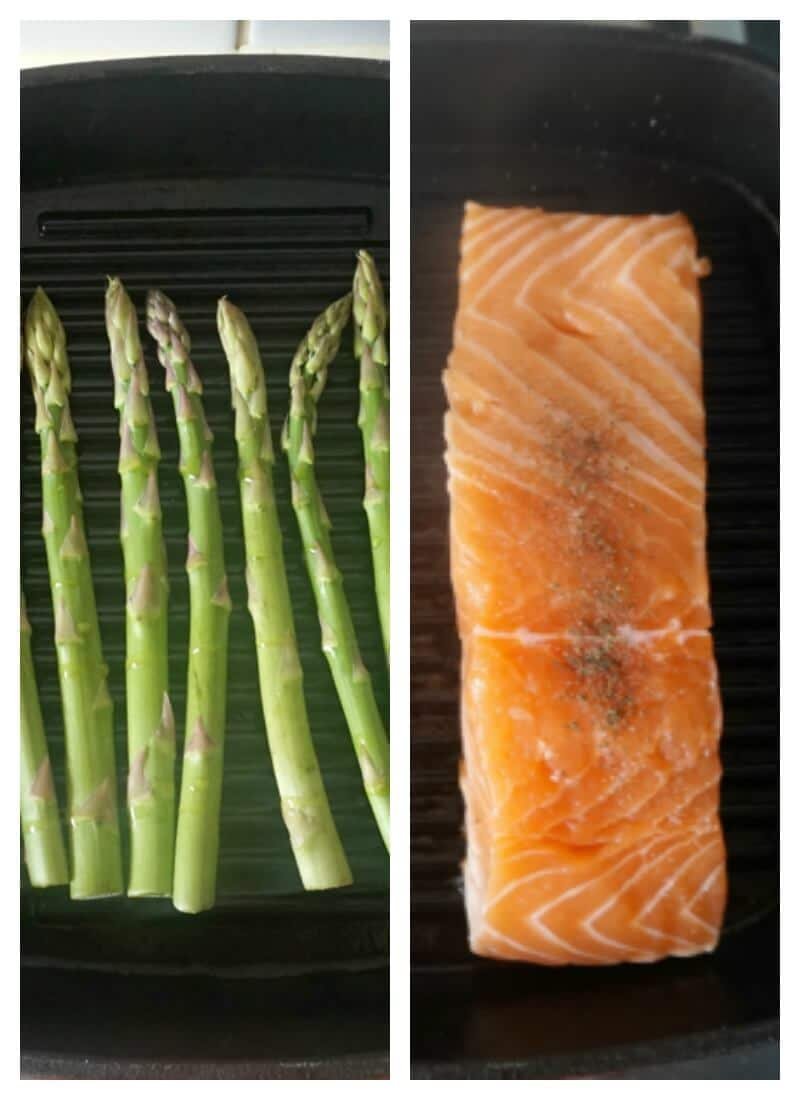 Collage of 2 ohotos, on the left side asparagus tips on a grill pan, on the right side, a salmon fillet on a grill pan