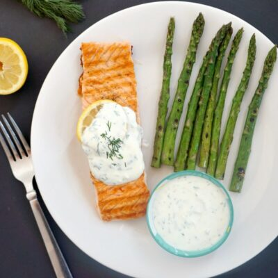 Grilled Salmon with Yogurt Dill Sauce and Asparagus