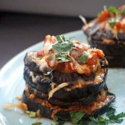 Healthy Baked Eggplant Parmesan Stacks