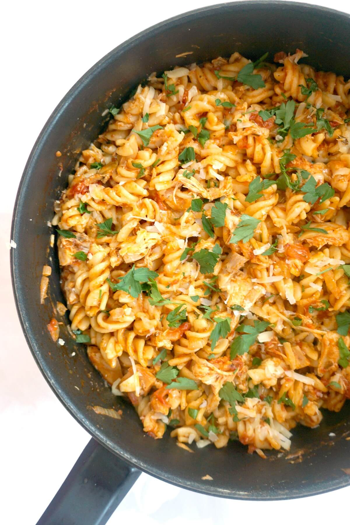 Half a pan of chicken pasta
