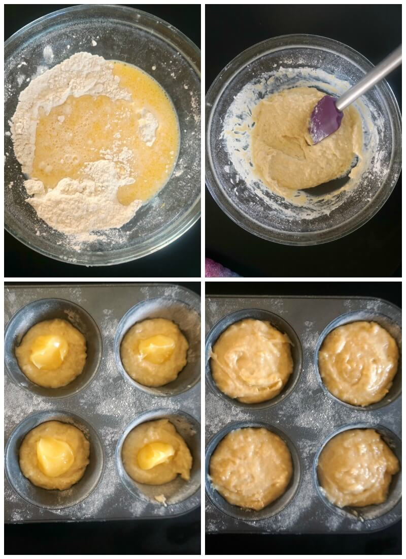 Collage of 4 photos to show how to make lemon drizzle muffins with lemon curd