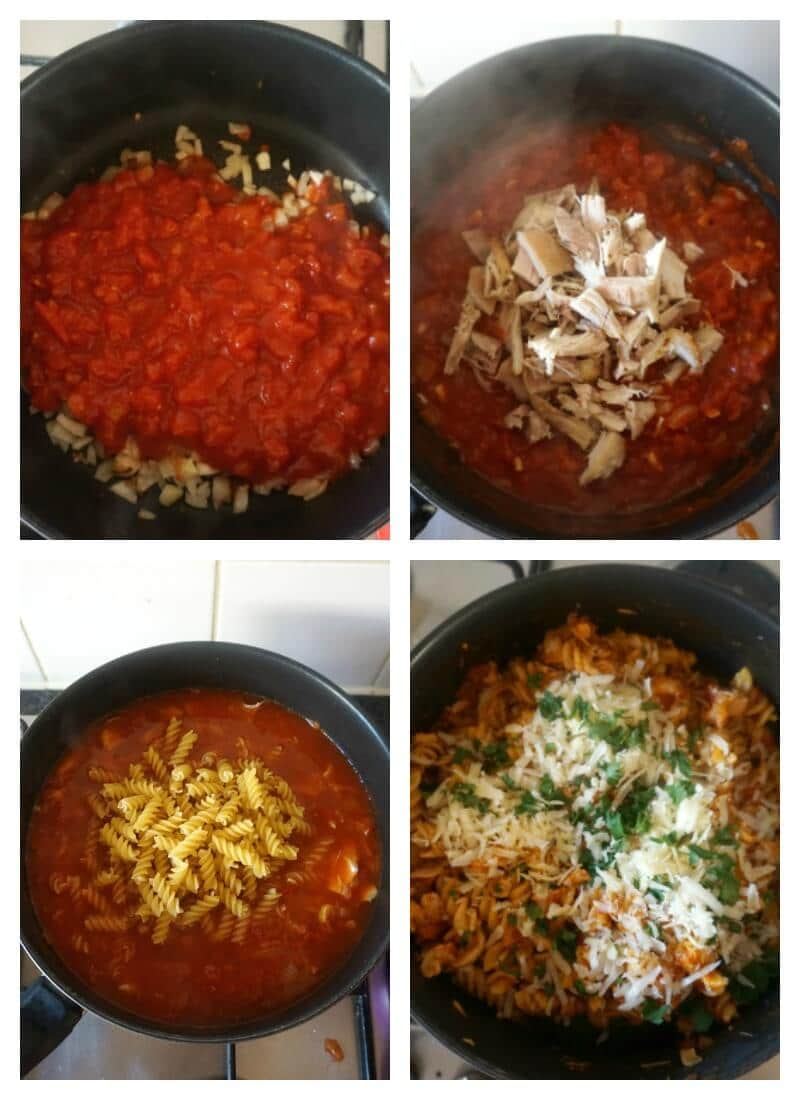 Collage of 4 photos to show how to make leftover roast chicken pasta in one pot
