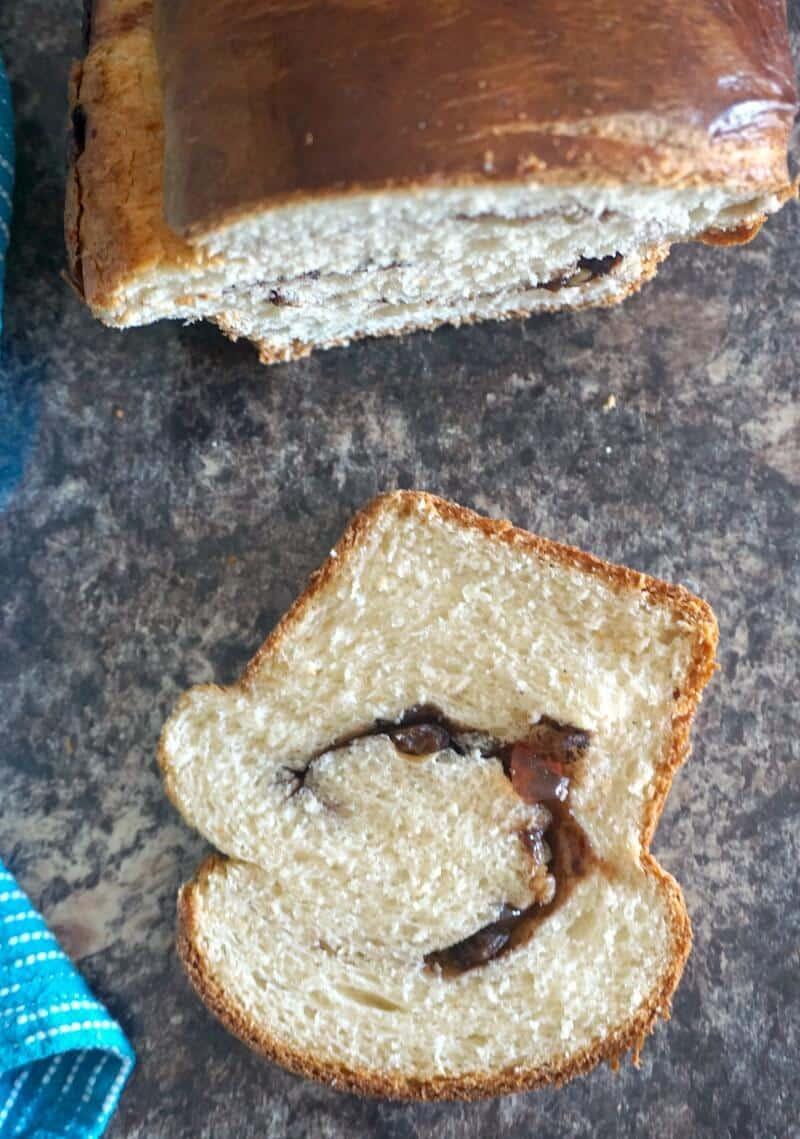 Overhead shoot of a slice of sweet bread