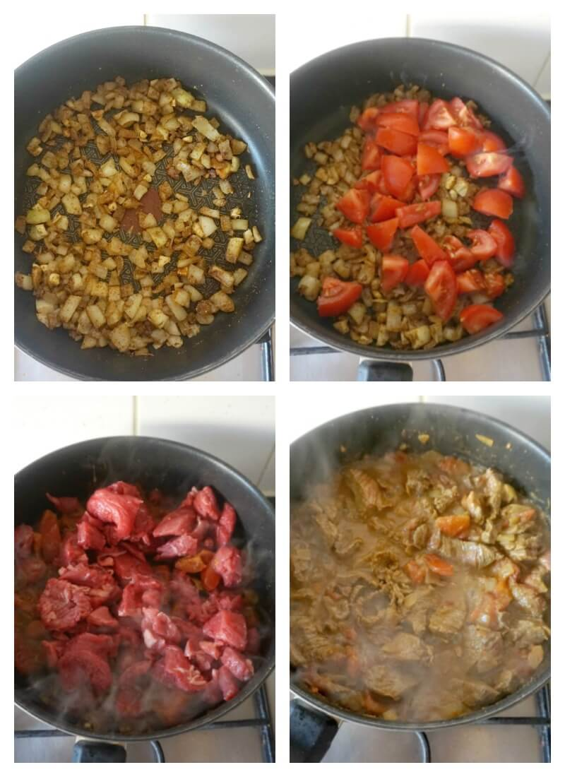 Collage of 4 photos to show how to make beef curry
