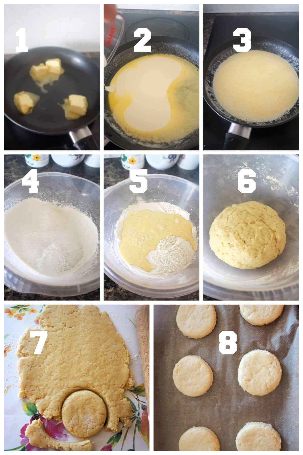 Collage of 8 photos to show how to make shortcake biscuits