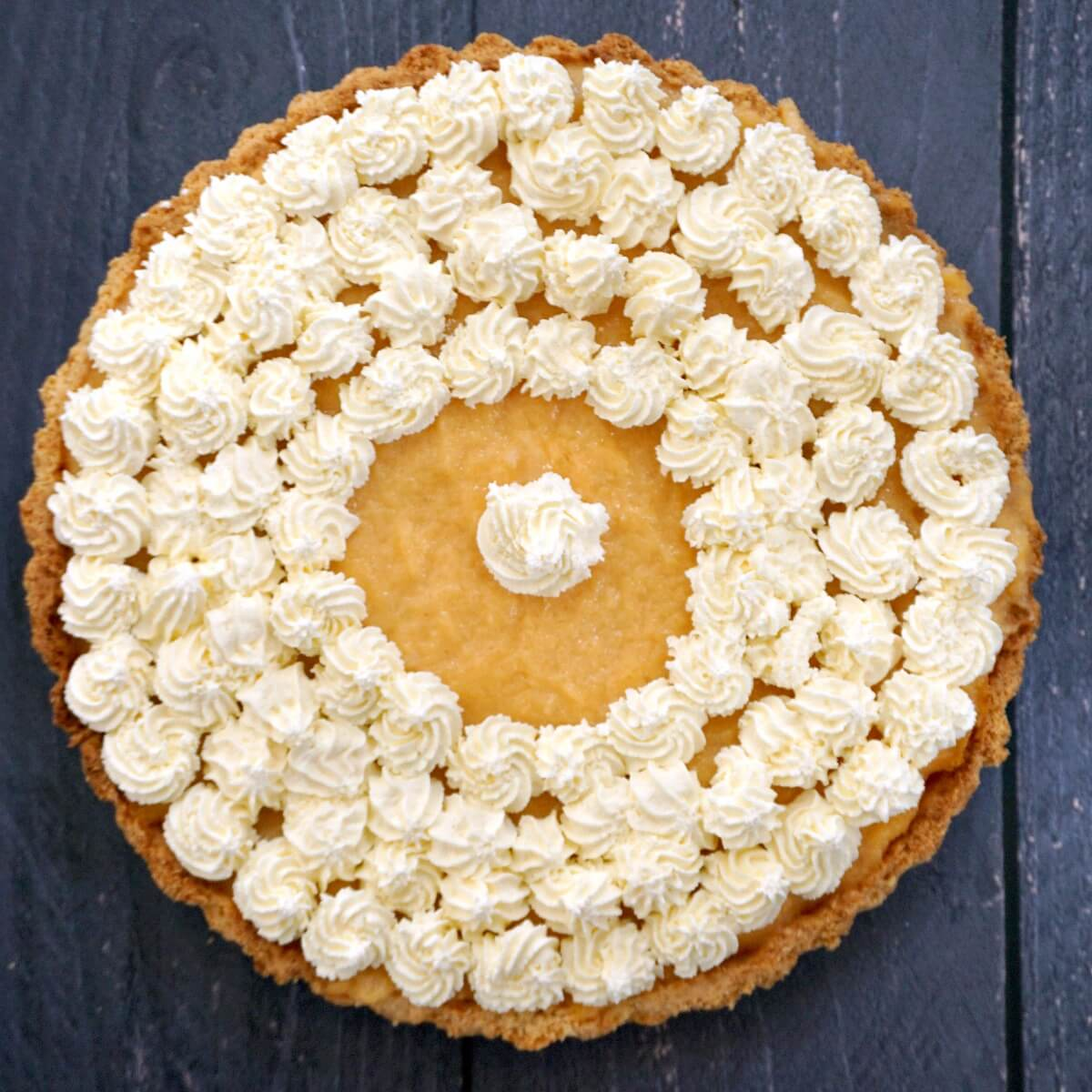 Overhead shoot of a cantaloupe pie
