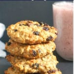 A stack of 4 oatmeal cookies