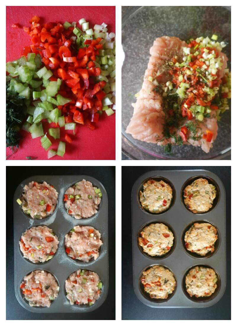 Collage of 4 photos to show how to make turkey meatloaf muffins