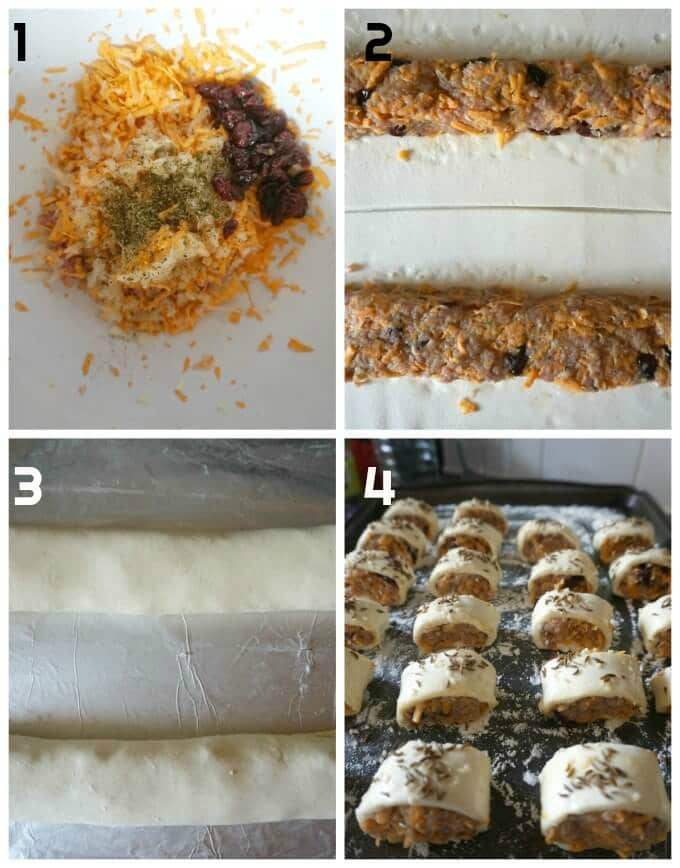 Collage of 4 photos to show how to make mini turkey sausage rolls