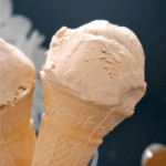 A cone with coffee ice cream