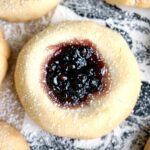 A thumbprint cookie filled with jam