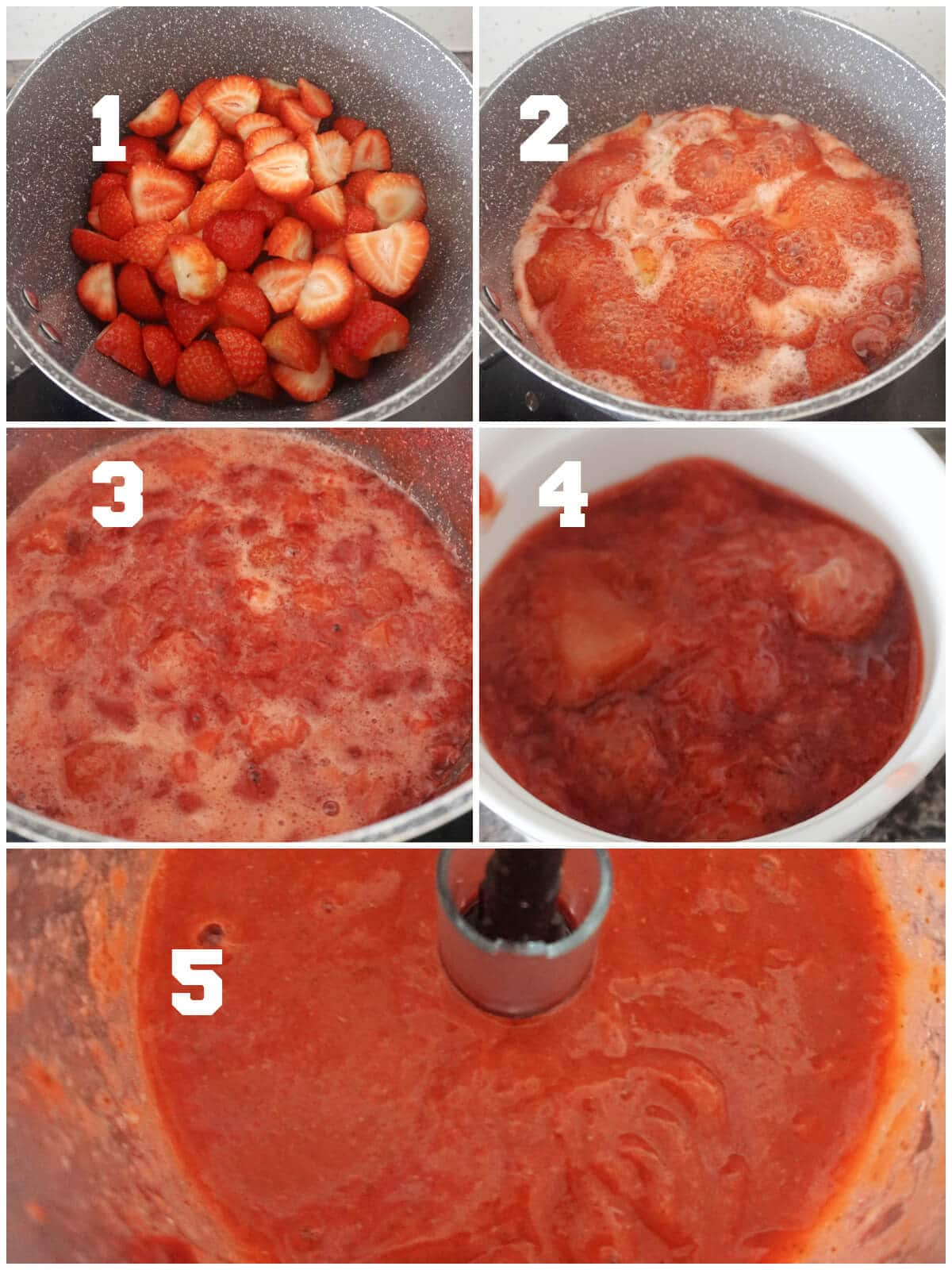 Collage of 5 photos to show how to make strawberry puree for ice cream