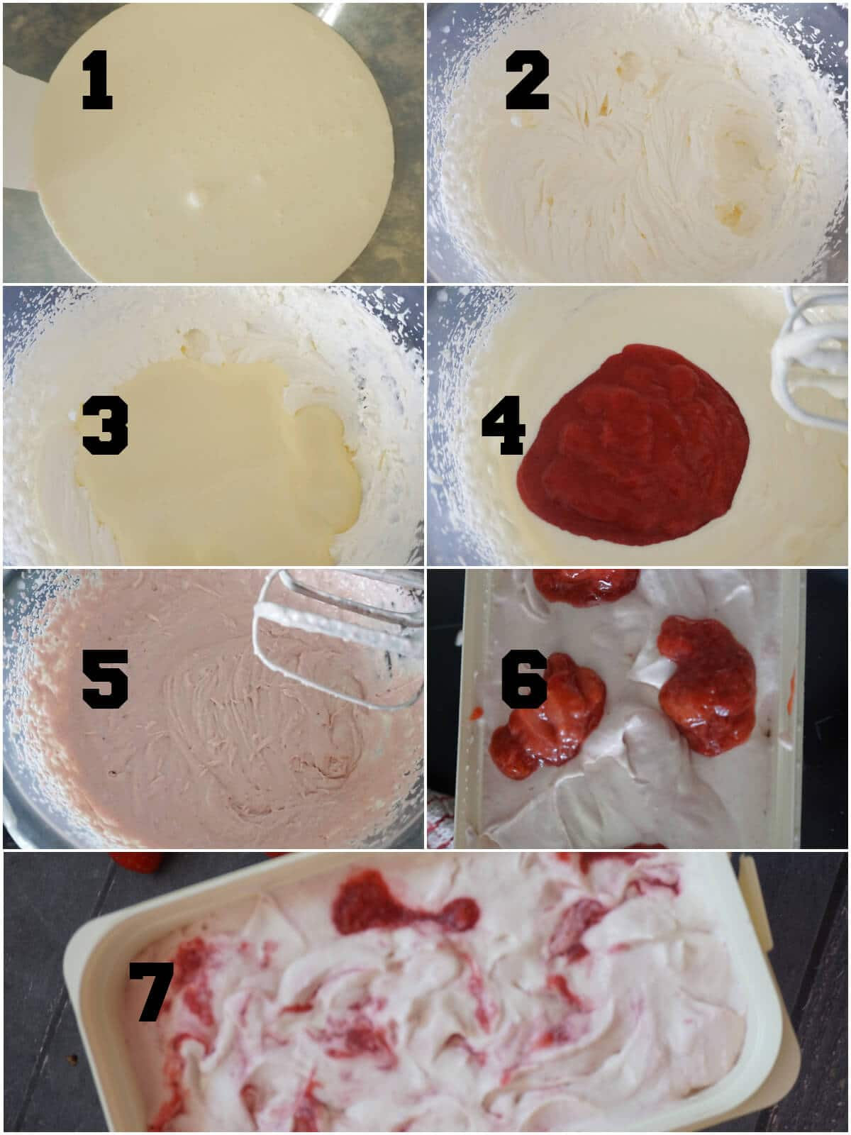 Collage of 7 photos to show how to make strawberry ripple ice cream
