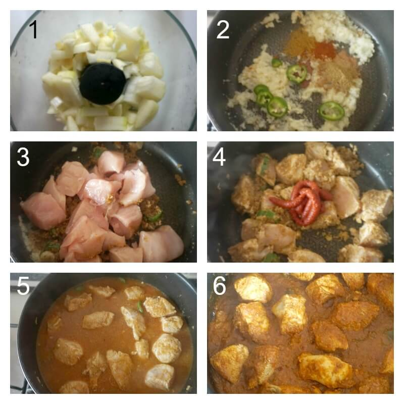 Collage of 6 photos to show how to make chicken rogan josh