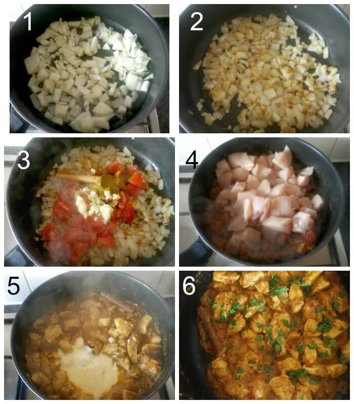 Collage of 6 photos to show how to make chicken balti curry