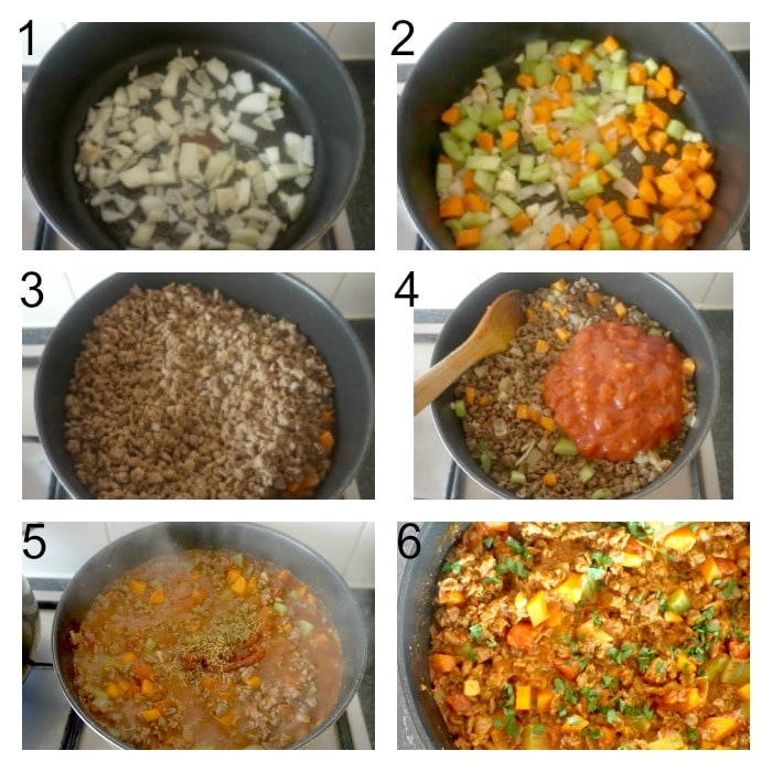 Collage of 6 photos to show how to make quorn bolognese