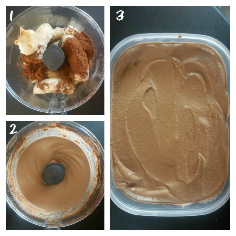 Collage of 3 photos to show how to make banana and chocolate nice cream