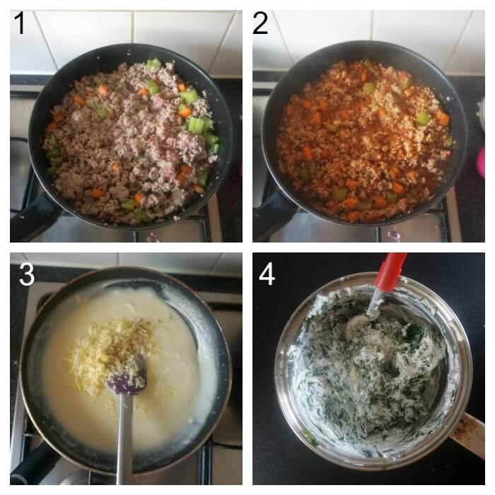 Collage of 4 photos to show how to make turkey lasagna