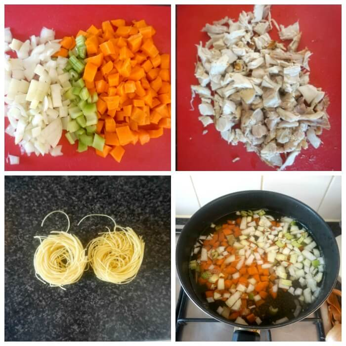 Collage of 4 photos to show the ingredients needed for the leftover chicken and noodle soup