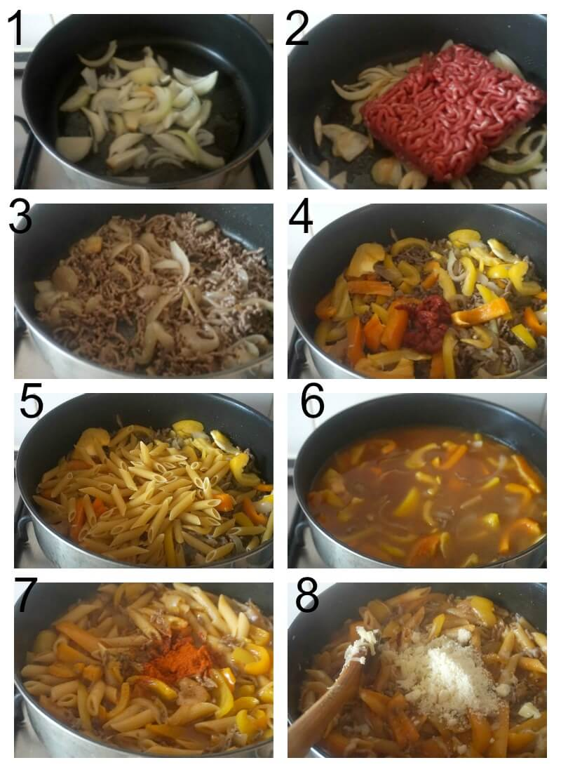 Collage of 8 photos to show how to make cheesy ground beef pasta in one pot