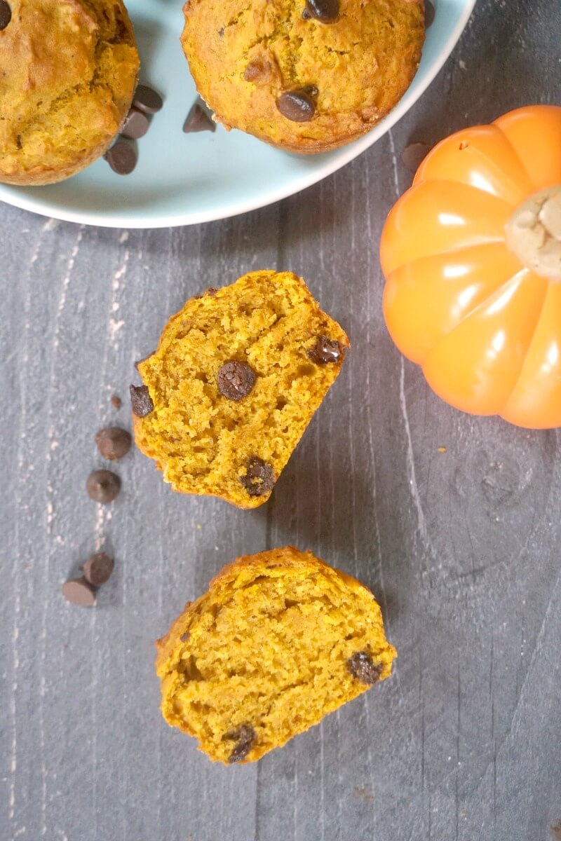 Overhead shoot of 2 halves of a pumpkin and chocolate chip muffin, a small pumpkin and a plate of other muffins