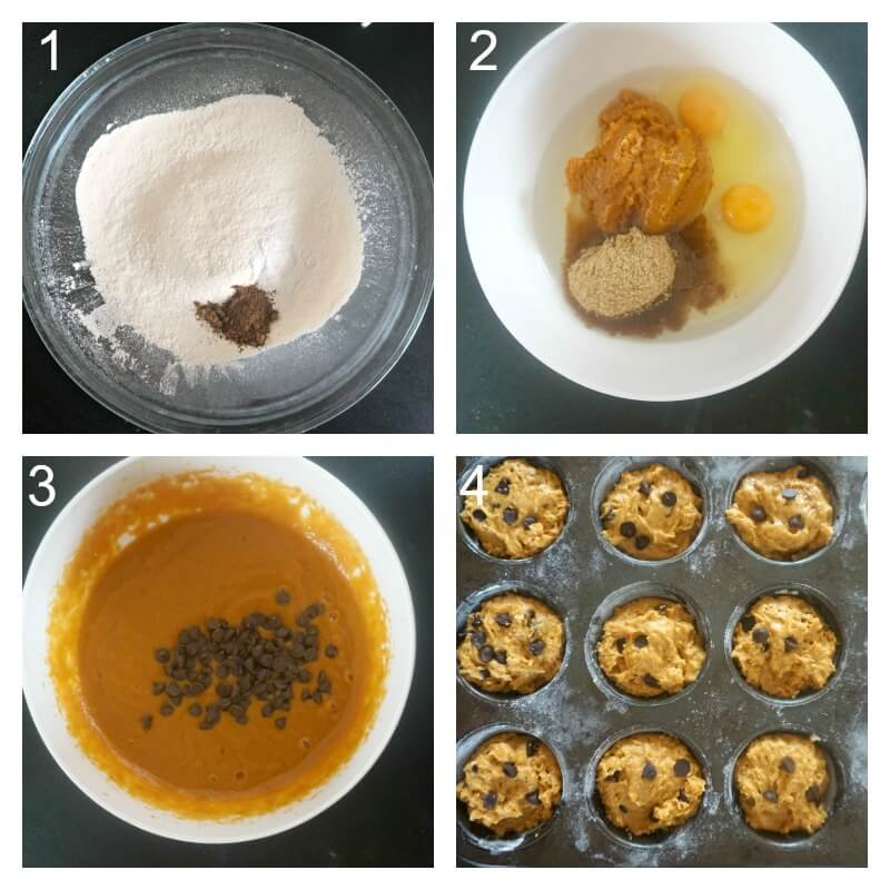 Collage of 4photos to show how to make pumpkin and chocolate chip muffins