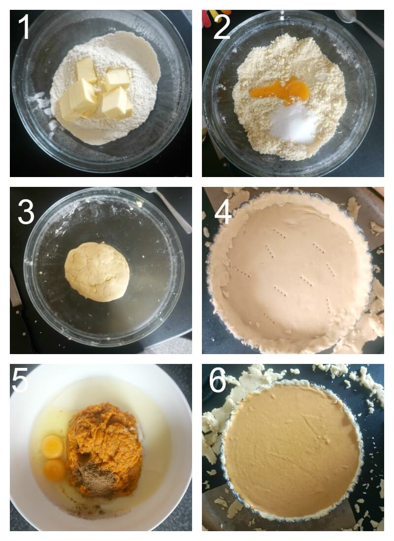 Collag eof 6 photos to show how to make pupmpkin pie with condensed milk from scratch
