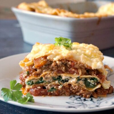 Healthy Turkey Lasagna with Spinach and Ricotta
