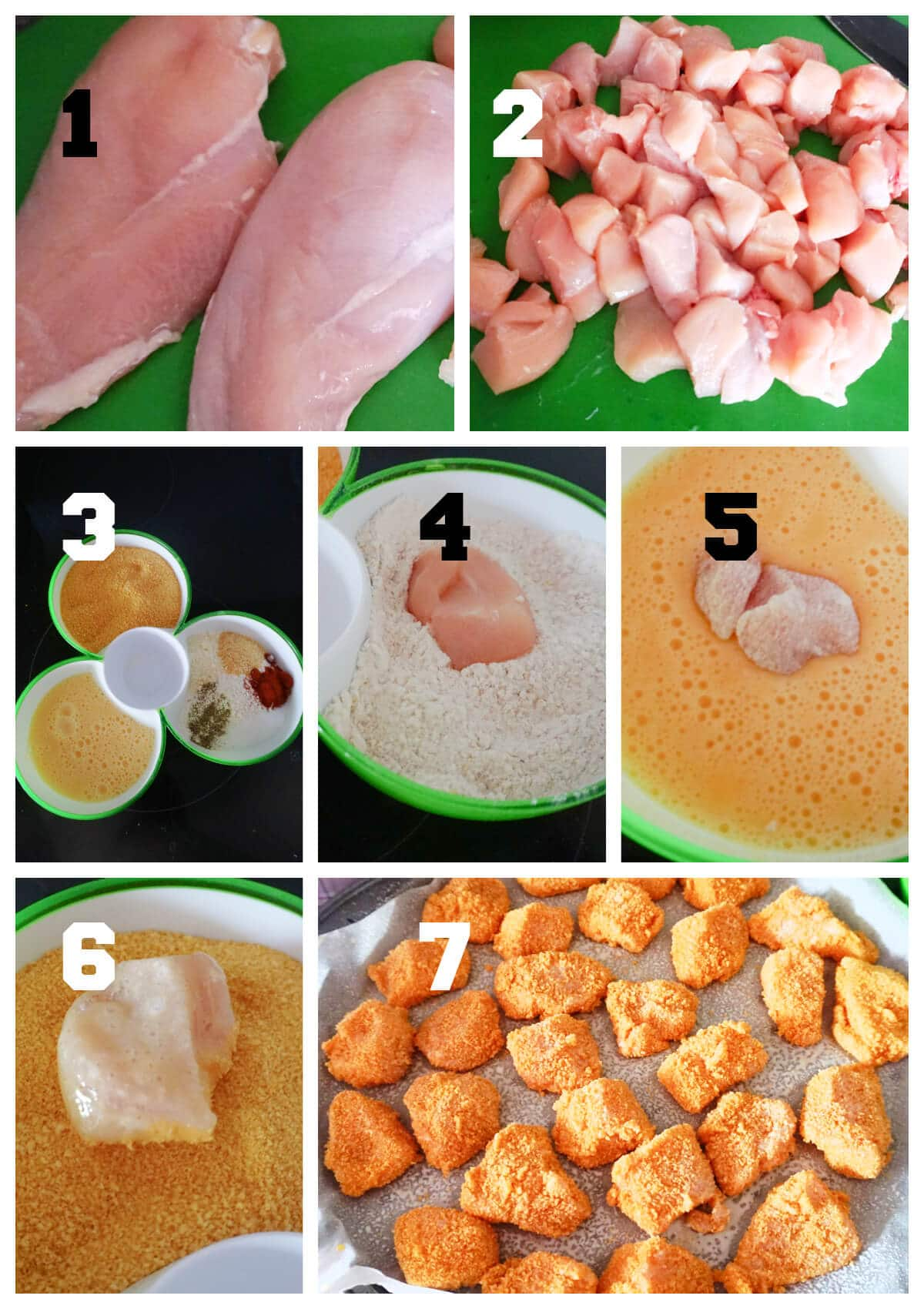 Collage of 7 photos to show how to make chicken nuggets in the oven