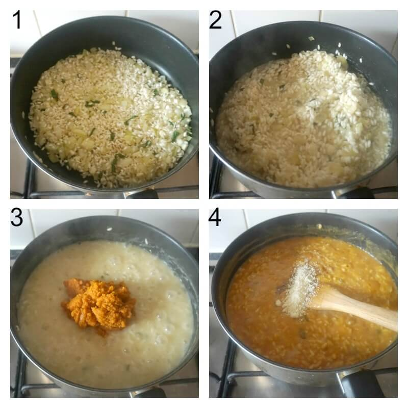 Collage of 4 photos to show how to make pumpkin risotto