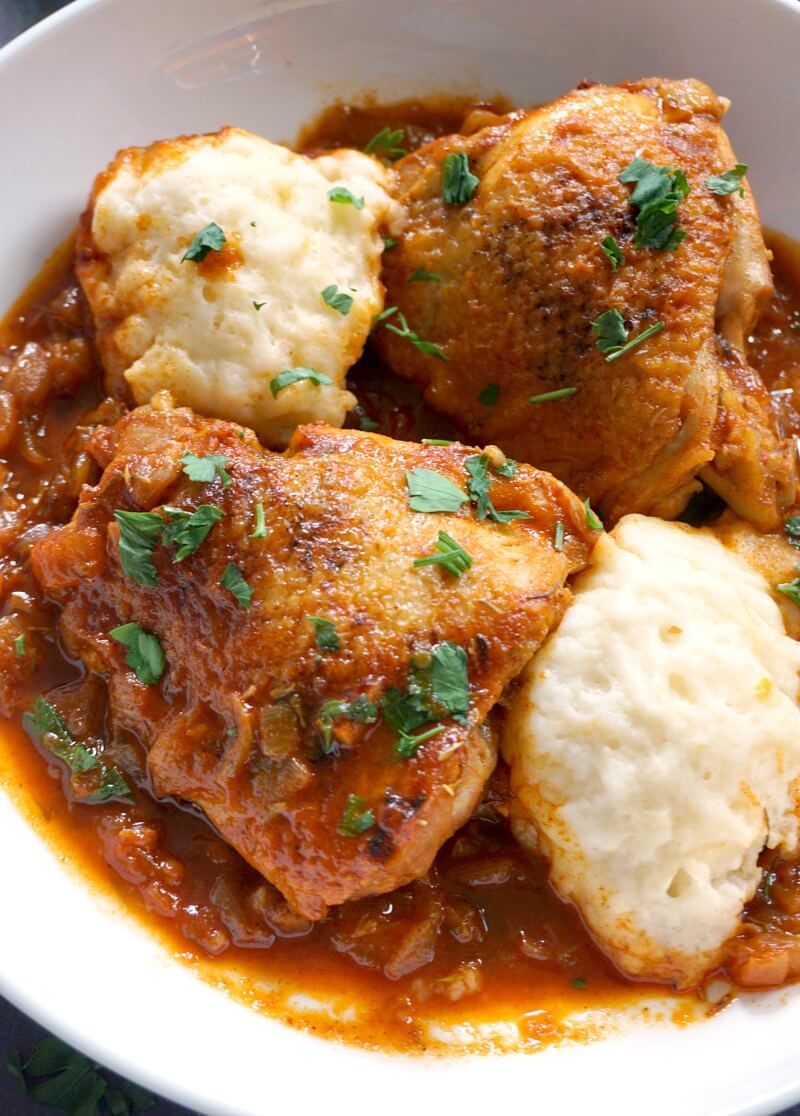A white plate with chicken paprikash with dumplings
