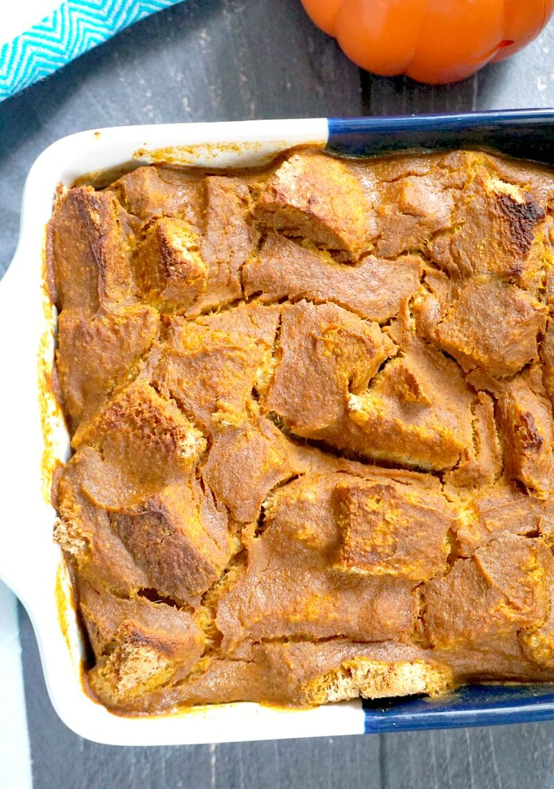 A casserole with pumpkin bread pudding